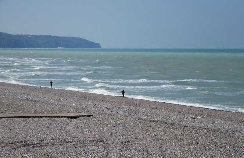 Pebble beach, cliffs of the Alabaster Coast in the background, Dieppe, Normandy