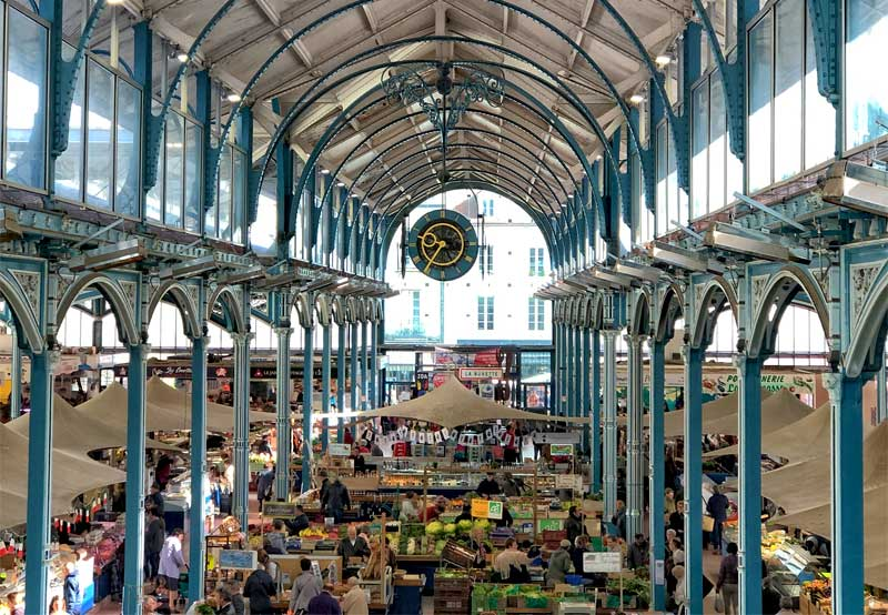 Dijon covered market a glass covered iron work structure reminiscent of the Eiffel Tower