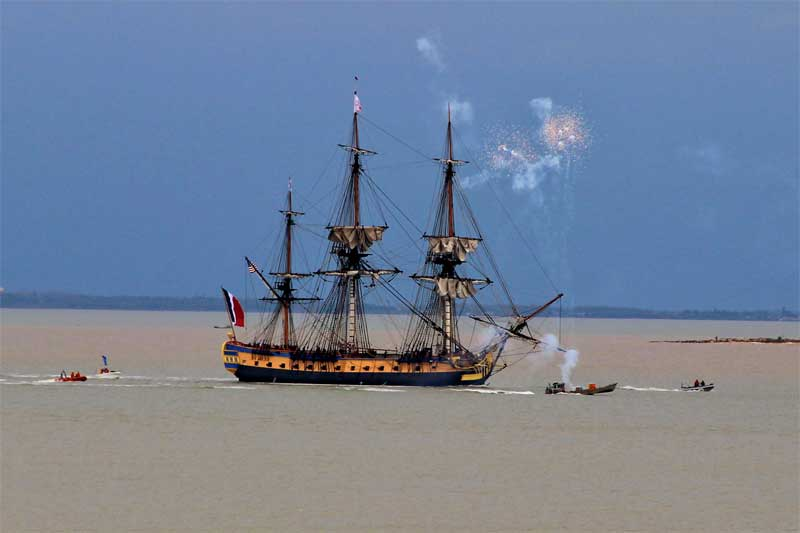 Frigate Hermione, full scale replica of a 17th century frigate, sailing away from France to America in 2015