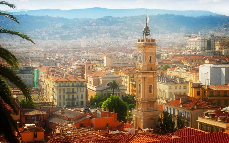 Rooftops and towers of Nice city in southern France