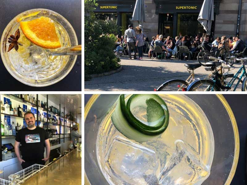 Gin and tonic drinks at the Supertonic Gin bar in Strasbourg