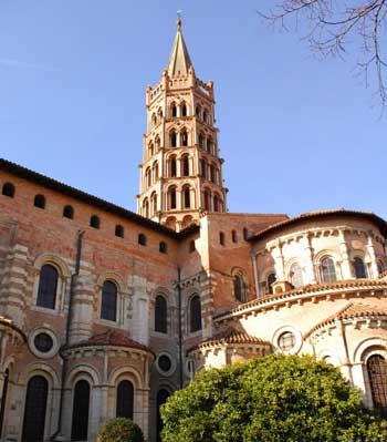 Tall, ornate spire of Saint Sernin, Toulouse