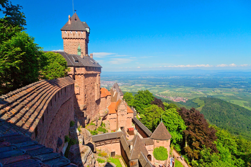 View from the ramparts of a castle high up on a mountain at Koenigsbourg, Alsace