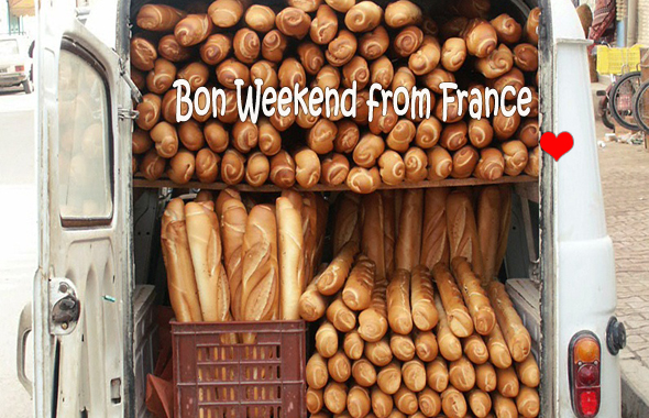 Baguettes in the back of a van in France