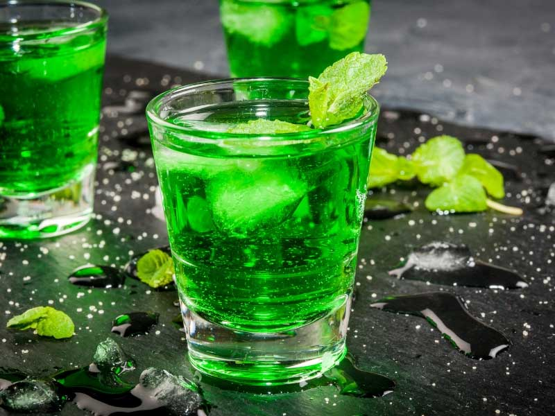 Creme de menthe liqueur in a glass
