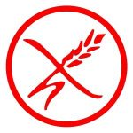 Logo for gluten-free products in France a red grain of wheat on a white background