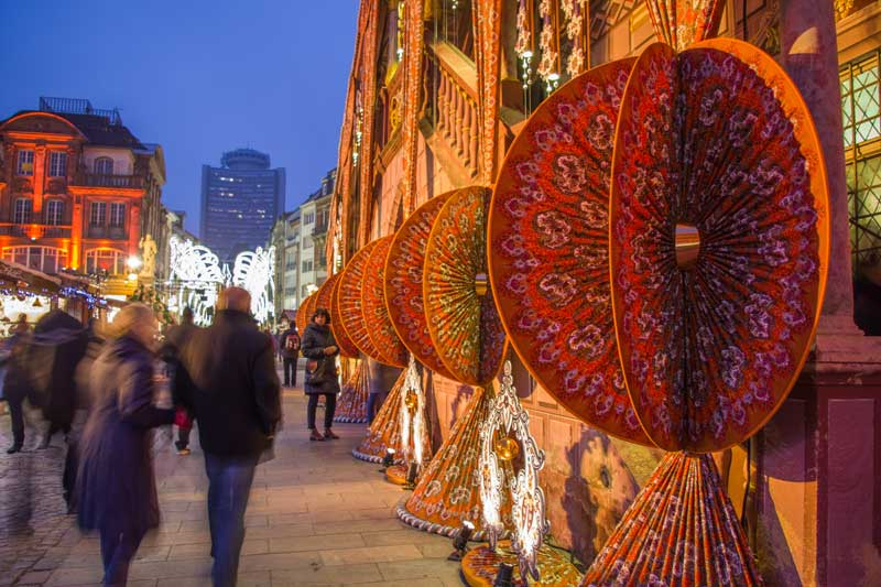 Textile artworks and cloth cover the Mulhouse town hall at Christmas