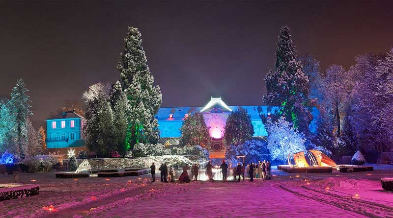 Parc Wesserling, a grand house and private park, lit up for Christmas shows near Mulhouse, Alsace