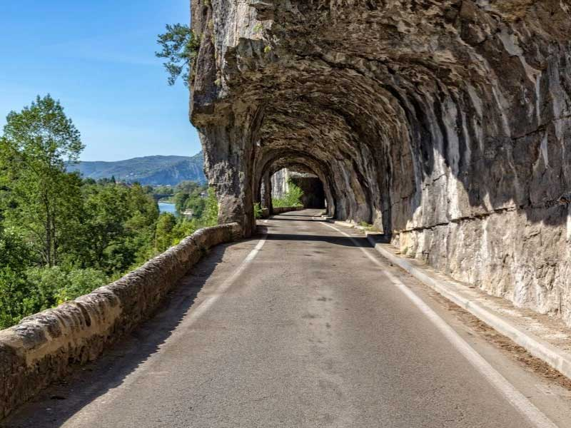 Road carved into a cliff face in the gorges of the Ardeche, southern France