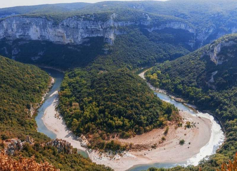 Aerial view of the Ardeche Gorges, southern France, monumental cliffs and winding waterways