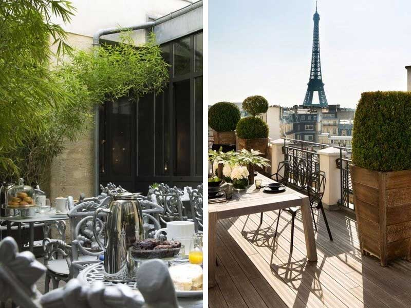 Covered terrace and open terrace of hotels in Paris