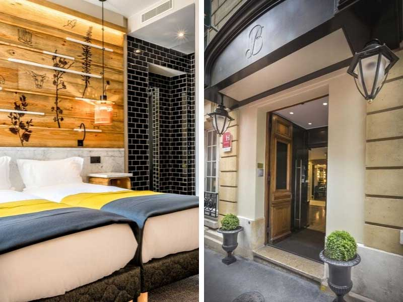 Bedroom of Hotel in Paris and facade of hotel in Paris