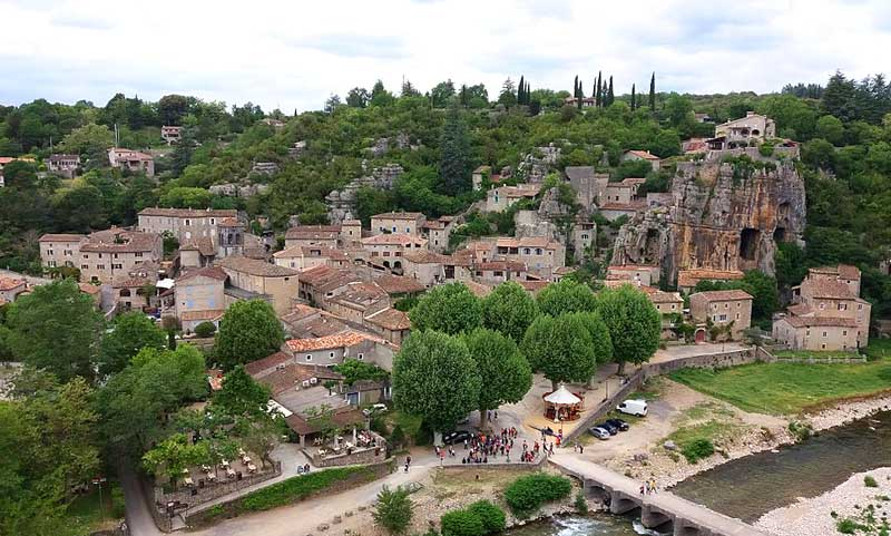 A little village of old houses with terracotta roofs in the Ardeche, southern France