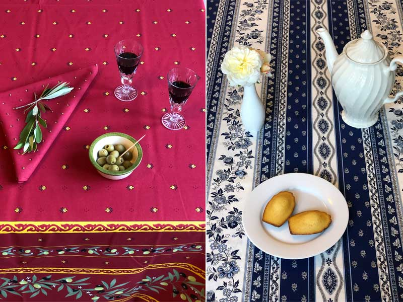 Tables covered with French tablecloths, wine and olives, tea and cake