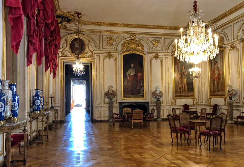 Sumptuous room with highly polished parquet floor, tapestries and paintings, Palais Rohan, Strasbourg