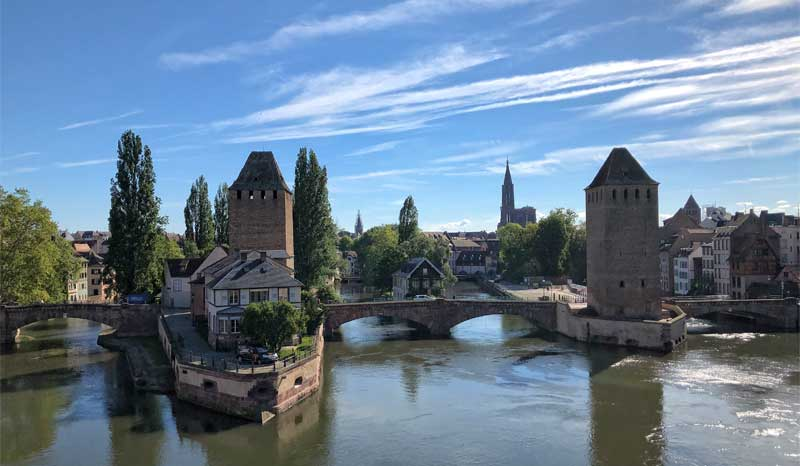 Canals crossed by bridges in Strasbourg, Alsace