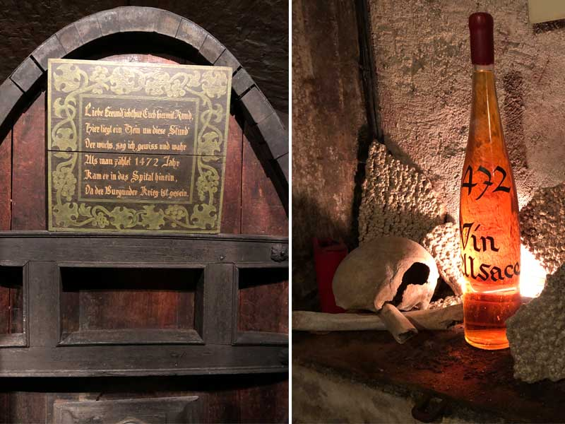 A bottle of wine dated 1472 in an ancient wine cellar in Strasbourg, Alsace