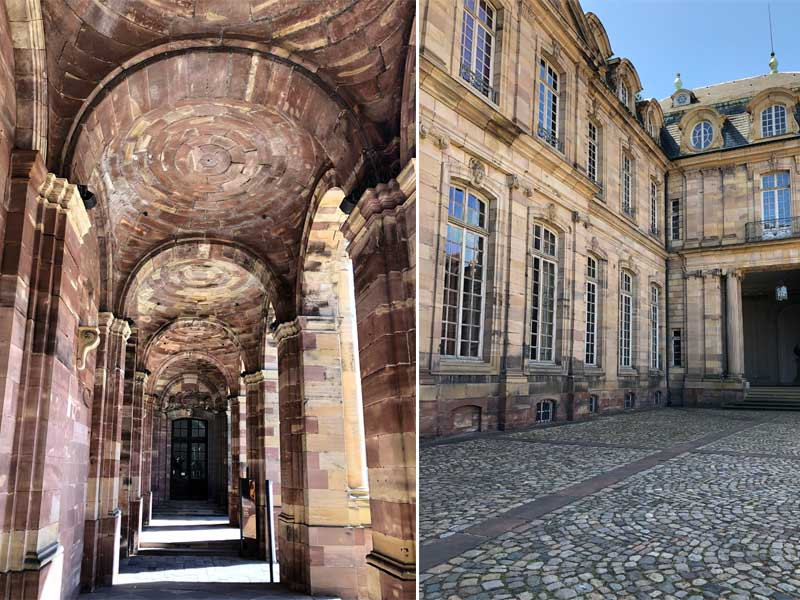 Stone arcade walkway and cobbled courtyard of the Palais Rohan Strasbourg