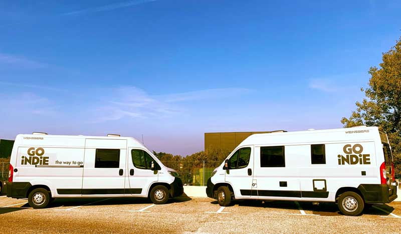 Camper van parked and ready to go on a road trip on a sunny day in Provence