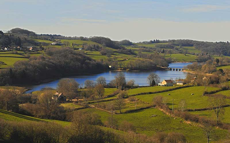 Rolling countryside, peppered with small trees round a lake in Morvan regional Park, Burgundy