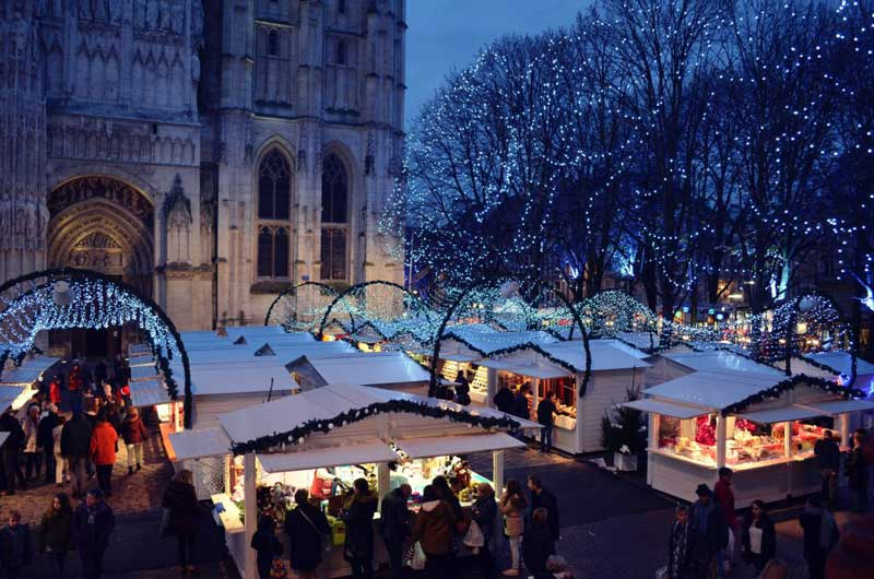 Rouen Christmas market by the Cathedral