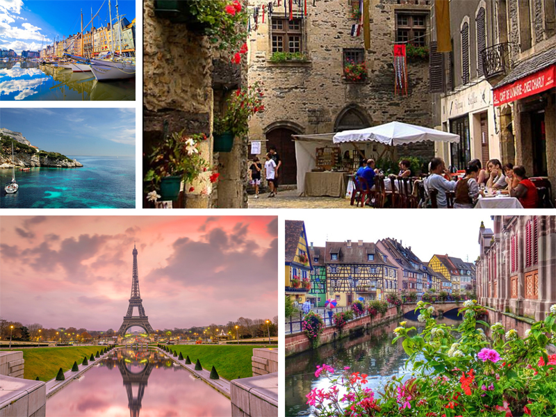 Medley of photos showing scenes in France