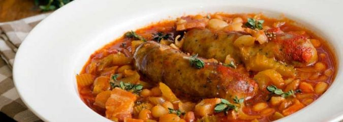 Easy Cassoulet recipe with chicken and sausages