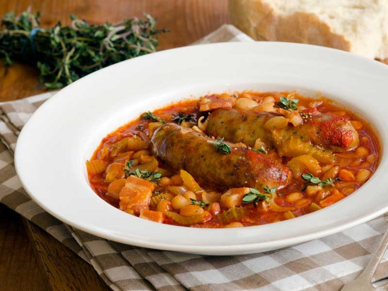 Dish of cassoulet - a robust French stew