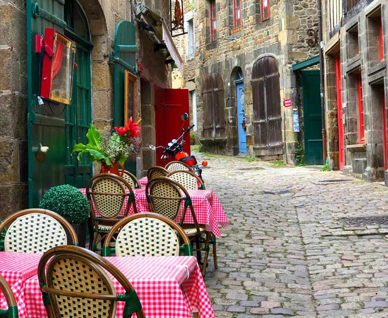 Cobbled street in Dinan in Brittany