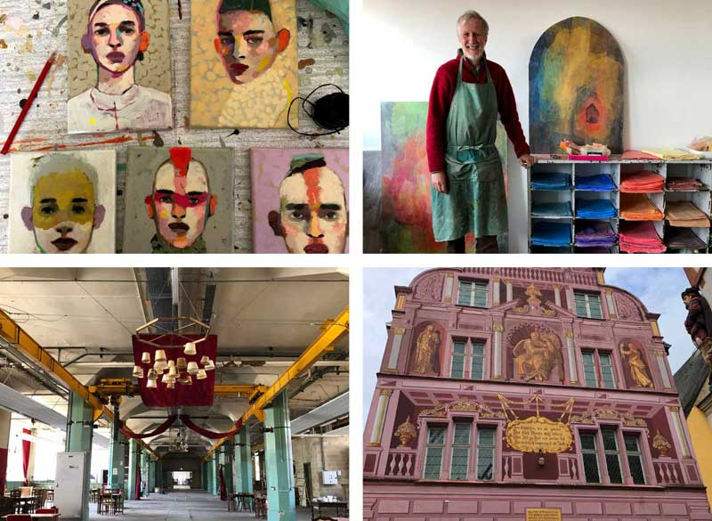 Medley of photos showing arty venues and artists in Mulhouse