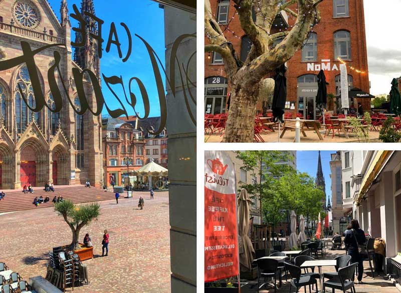 Photos showing cafes and restaraunt fronts in Mulhouse, Alsace