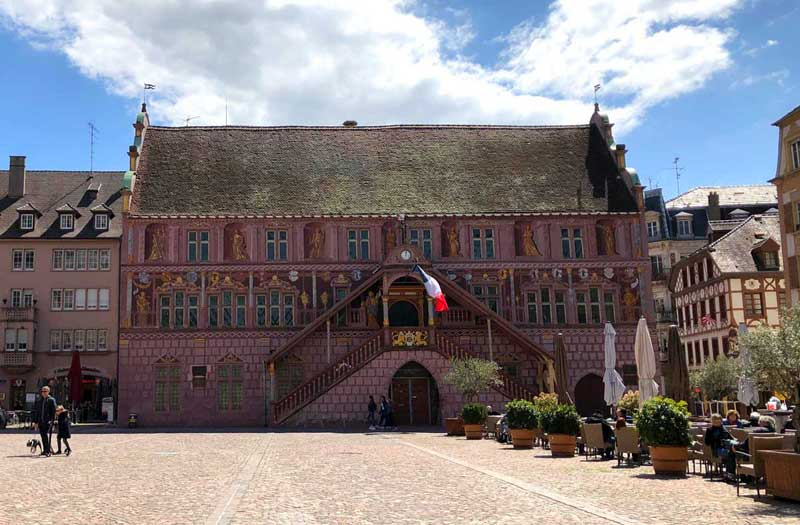 Mulhouse Town Hall covered in centuries old frescoes in the main square