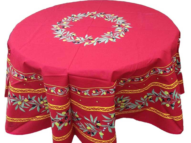 Round red tablecloth decorated with olive illustration