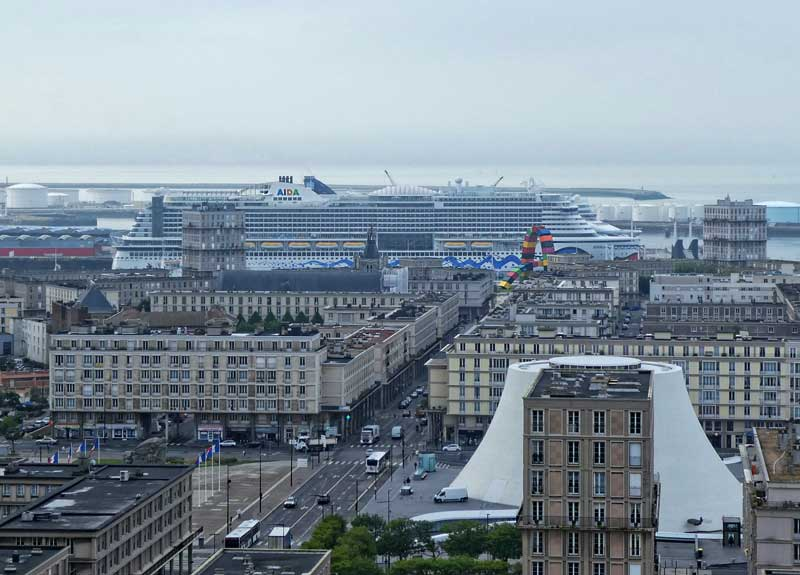 Le Havre port on a cloudy day from the top of the town hall a huge cruise ship in port