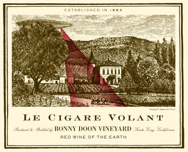American Wine label with an image of a UFO on it, inspired by Chateauneuf-du-Paper, France