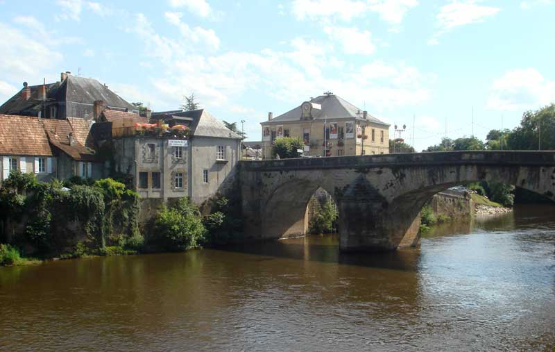 View of the town of Montignac in Dordogne from the river which runs through it