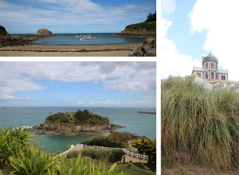 Coastal scenes near Paimpol Brittany, boats in calm bays, plants growing on cliff tops