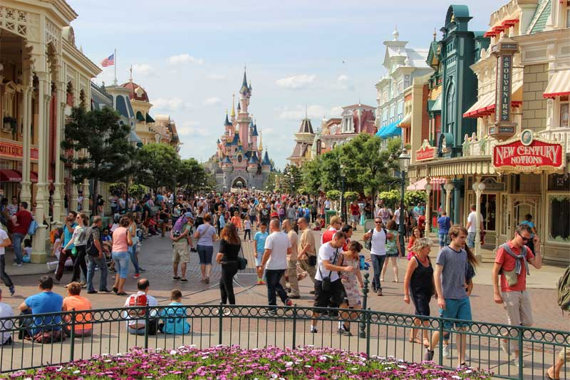 Main street Disneyland Paris with Sleeping Beauty's Caste at one end
