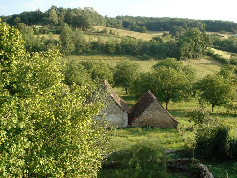 View over the rolling hills of Dordogne, peppered with trees and foliage