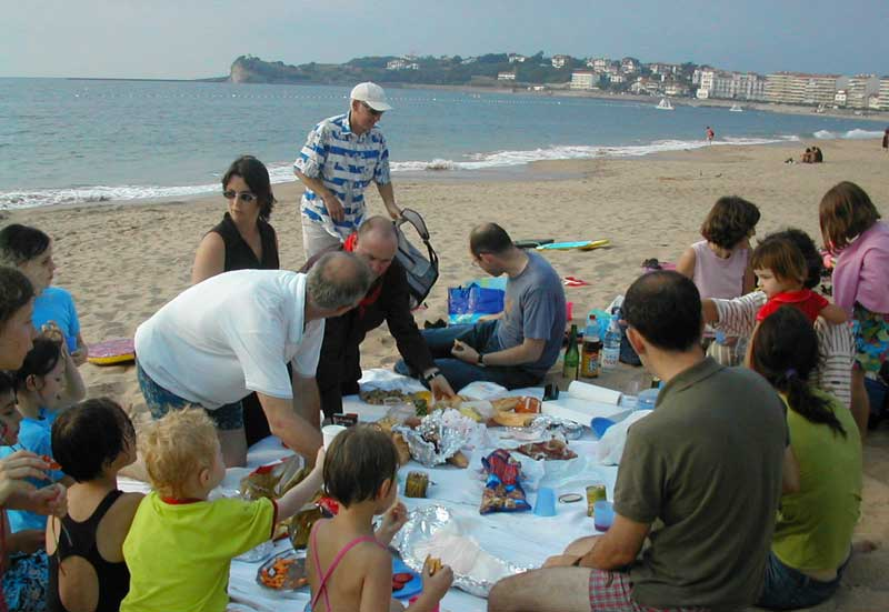 Lots of people enjoying a picnic on a beach in St Jean de Luz, Midi-Pyrenees