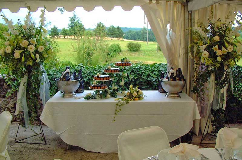 Table with cakes and ice buckets filled with Champagne and wine overlooking countryside