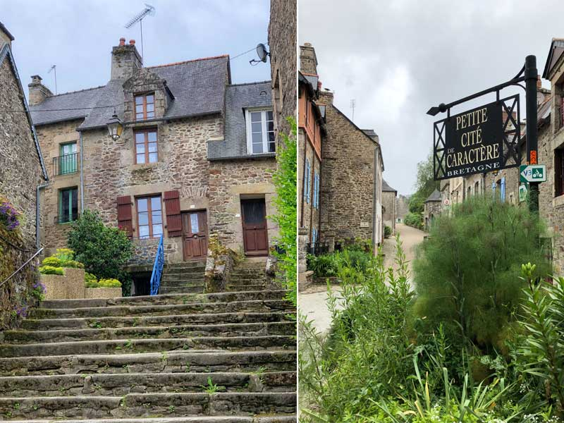 Street view Lehon near Dinan in Brittany, ancient houses and lots of flowers