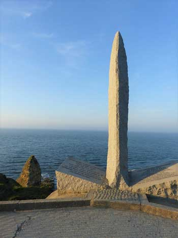 Famous pointed monument at Point-du-Hoc, Normandy, scene of WWII battle