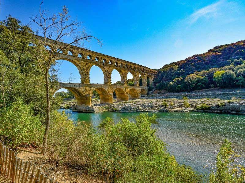Roman aqueduct Pont du Gard over a river near Avignon, Provence