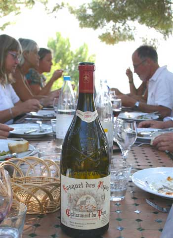 People sitting at table on a shady terrace overlooking vineyards in Provence