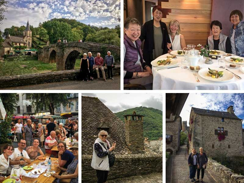 People enjoying themselves at restaurants and sites of natural beauty in Aveyron France