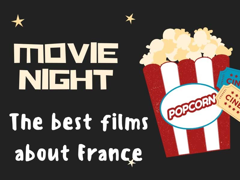 Poster for a film night about French films with a picture of pop corn and cinema tickets