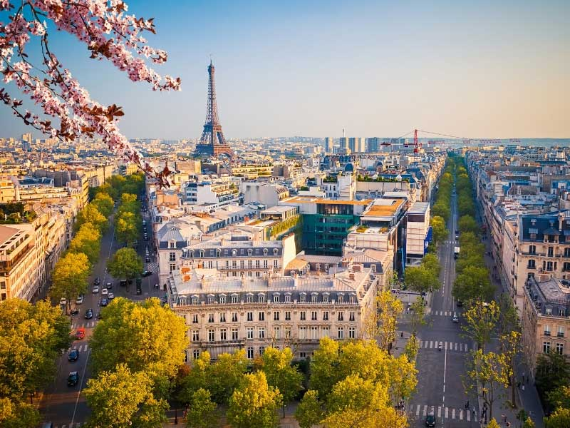 Eiffel Tower and streets of Paris in spring time with trees blossoming