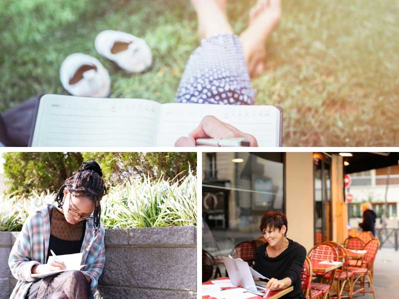 People writing in gardens, cafes and parks