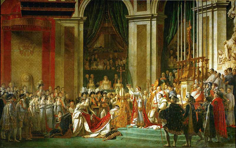 Painting of Napoleon Bonaparte being crowned Emperor at Notre-Dame Cathedral Paris